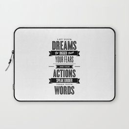 Let Your Dreams Be Bigger Than Your Fears black-white typography design poster home wall decor Laptop Sleeve
