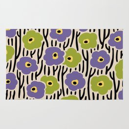 Mid Century Modern Wild Flowers Pattern Purple and Green Rug