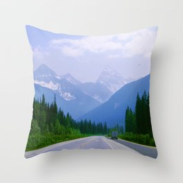 Famous Ice Highway Through Canadian Rockies Snowy Mountains Throw Pillow