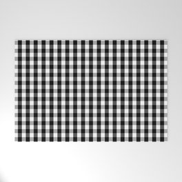 Classic Black & White Gingham Check Pattern Welcome Mat
