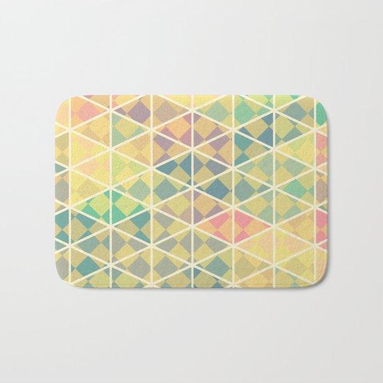 Green mosaic checkered art Bath Mat