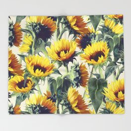 Sunflowers Forever Throw Blanket