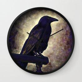 Black Raven of Peace Wall Clock
