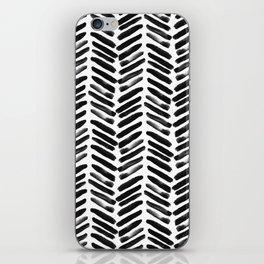 Simple black and white handrawn chevron - horizontal iPhone Skin