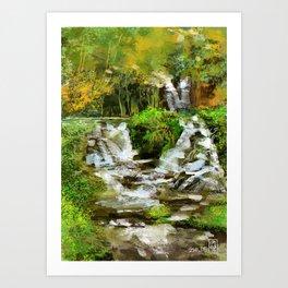 Waterfall Illustration  Art Print