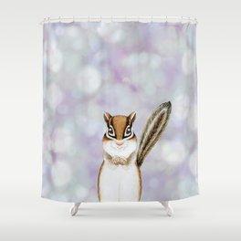 chipmunk woodland animal portrait Shower Curtain