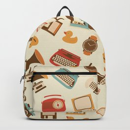 Vintage retro object pattern Backpack