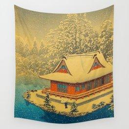 Vintage Japanese Woodblock Print Winter Red Pagoda Falling Show Blue Lake Wall Tapestry