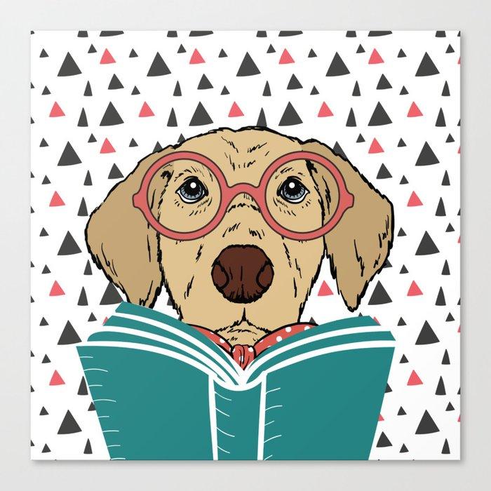 Reading Dog Canvas Print