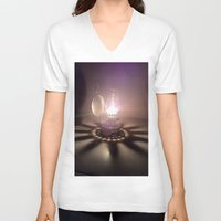 duvet cover V-neck T-shirts featuring LIGHT AND SHADOW DUVET COVER by aztosaha