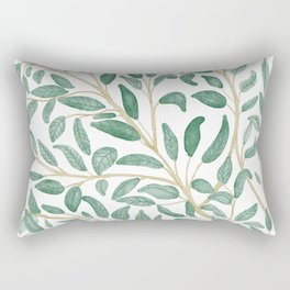 Green Leaf Pattern Rectangular Pillow