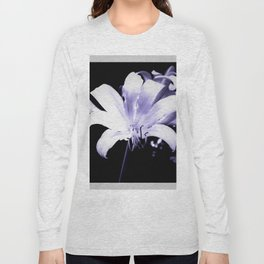 White Lily On Black Background Long Sleeve T-shirt