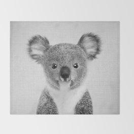Baby Koala - Black & White Throw Blanket