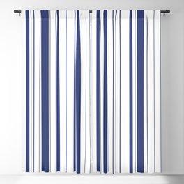 Minimalist Era - White & Indigo Blue Stripe Asymmetrical Blackout Curtain