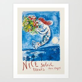 Nice - French travel poster by Marc Chagall, 1962 Art Print