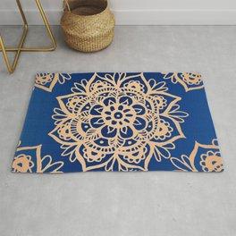 Blue and Gold Mandala Rug