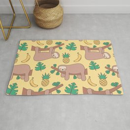 cute cartoon sloth seamless pattern background with exotic leaves, pineapples and bananas Rug