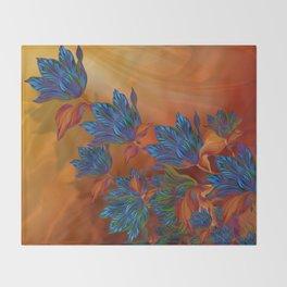 """Blue flowers on orange silk"" (Air Spring at night) Throw Blanket"