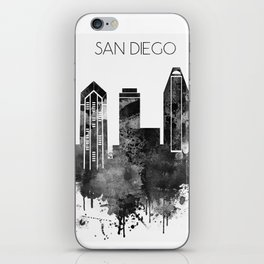 Black and white watercolor San Diego skyline iPhone Skin