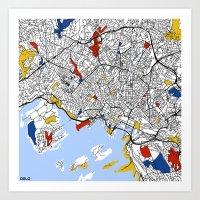 oslo Art Prints featuring Oslo by Mondrian Maps