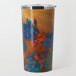 """Blue flowers on orange silk"" (Air Spring at night) Travel Mug"