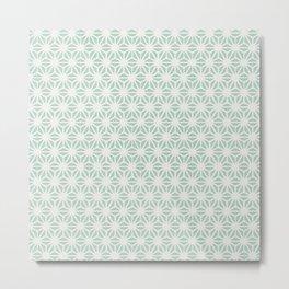 Seafoam Green Asanoha (Hemp Leaf) Pattern Metal Print