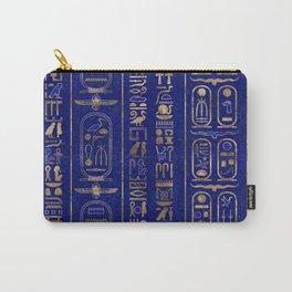Egyptian hieroglyphs pattern Gold Lapis Lazuli Carry-All Pouch