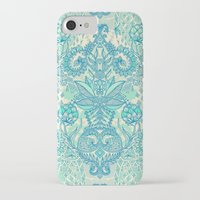 bedding iPhone & iPod Cases featuring Botanical Geometry - nature pattern in blue, mint green & cream by micklyn