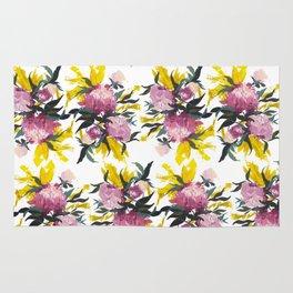 pattern Pivoine violette sur fond jaune Rug