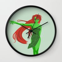 poison ivy Wall Clocks featuring Poison Ivy by revolver74