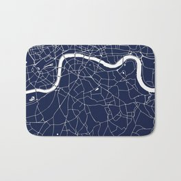 Navy on White London Street Map Bath Mat