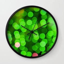 glowing confetti in green Wall Clock