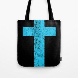 Cross (distressed cyan)  Tote Bag