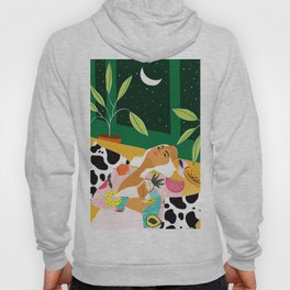 Moon Lover, Bold Quirky Fashion Illustration, Eclectic Decor Modern Bohemian Plant Lady Hoody