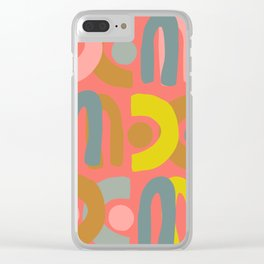 Abstract Shapes in Coral Clear iPhone Case