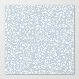 Block Printed Dusty Blue and White Stars Canvas Print
