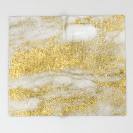 Marble - Glittery Gold Marble and White Pattern Throw Blanket