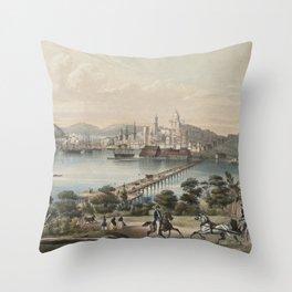 Vintage Pictorial Map of Boston MA (1866) Throw Pillow