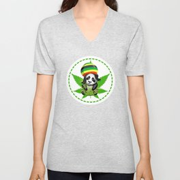 Funny Reggae Panda Design With Rasta Hair Unisex V-Neck