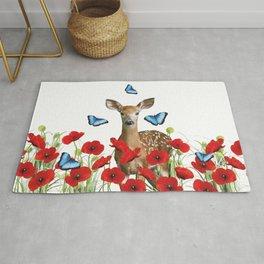 Little Deer - Poppies Field and Morpho Butterflies Rug