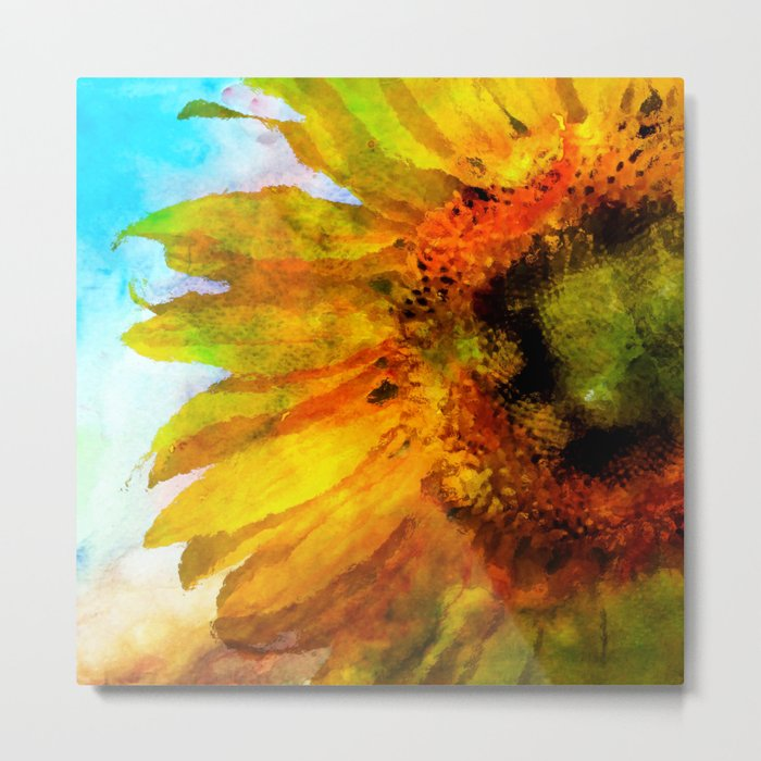 Sunflower on colorful watercolor background- Flowers on #Society6 Metal Print