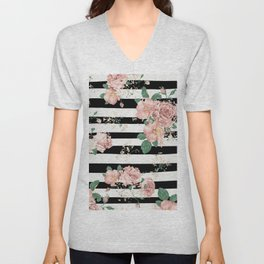 VINTAGE FLORAL ROSES BLACK AND WHITE STRIPES Unisex V-Neck