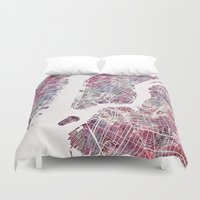 new york map Duvet Covers featuring new york map by MapMapMaps.Watercolors