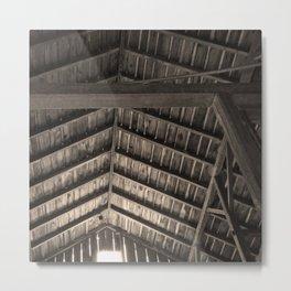 Old Barn Rafters in Sepia Metal Print