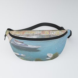 Natural harbor and colorful town of Italian Riviera Fanny Pack