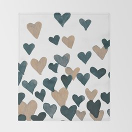 Valentine's Day Watercolor Hearts - neutral Throw Blanket