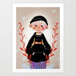 Merman in a hoodie Art Print