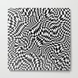 TIME MOVES SLOWLY (warped geometric pattern) Metal Print