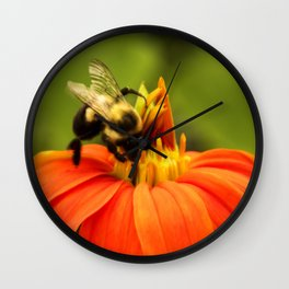 Mexican Sunflower Bumblebee Wall Clock