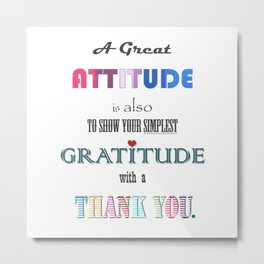 Gratitude ~ Xmas Spirit Quote Metal Print